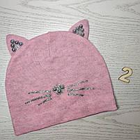 Шапка для девочки Демисезонная с ушками киса Бусинка Размер 48-50 см Возраст 2-4 года, фото 5