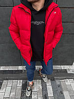 Стильный укороченный пуховик мужской теплый красный