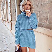 Платье-свитер женское свободного кроя с горлышком