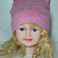 Шапка для девочки Демисезонная с ушками киса Бусинка Размер 48-50 см Возраст 2-4 года, фото 2