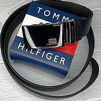 Мужской кожаный ремень с пряжкой автомат (042) черный
