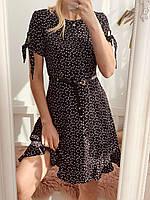 Платье женское легкое черное с завязками