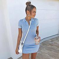 Платье поло женское вязаное голубое