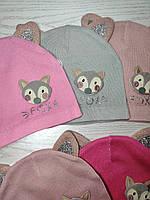 Шапка для дівчинки Демісезонна  з вушками Fox Розмір 46-48 см Вік 1-2 роки, фото 7