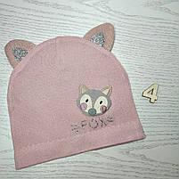 Шапка для дівчинки Демісезонна  з вушками Fox Розмір 46-48 см Вік 1-2 роки, фото 6