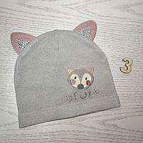 Шапка для дівчинки Демісезонна  з вушками Fox Розмір 46-48 см Вік 1-2 роки, фото 5