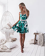 Платье женское с открытой спиной и с пальмовыми листьями