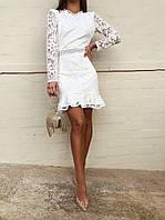 Кружевное платье женское с открытой спиной белое