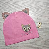 Шапка для дівчинки Демісезонна  з вушками Fox Розмір 46-48 см Вік 1-2 роки, фото 4