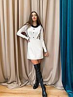 Женское вязаное платье молочное