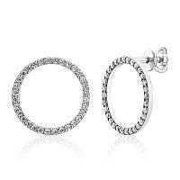 Серебряные серьги-гвоздики кольца с камнями
