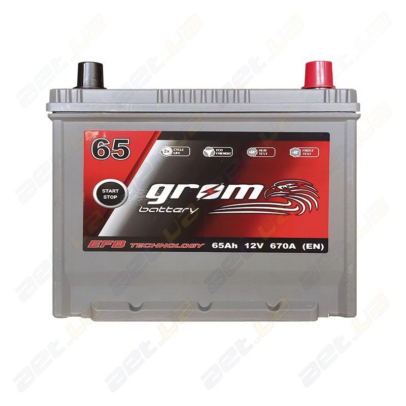 Аккумулятор Grom Battery 65Ah 670A JR+ (EN) EFB