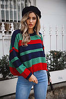 Вязанный свитер женский в полоску