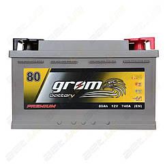Аккумулятор автомобильный Grom Battery 80Ah R+ 740A (EN) низкобазовый