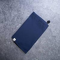 Не продуваемый зимний шарф-хомут Soft Shell синий однотонный