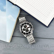 Часы оригинальные мужские наручные кварцевые Megalith 8232M Silver-Black-Whit / стальной ремешок, фото 2