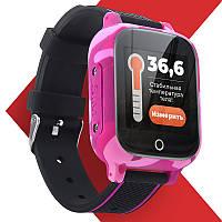 Детские смарт часы-телефон JETIX T-Watch Original с виброзвонком термометром и GPS трекером (Pink)