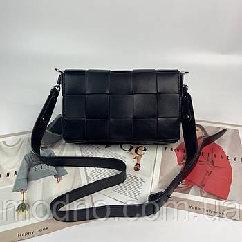 Женская кожаная плетенная сумка через плечо с широким ремешком Polina & Eiterou