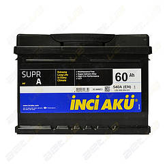 Аккумулятор автомобильный INCI-AKU Supr A 60Ah R+ 540A (низкобазовый)