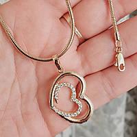 Кулон сердце с цепочкой снейк 2мм 50см xuping медицинское золото позолота 18К 5284