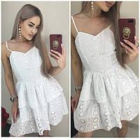 Платье летнее прошва на бретельках 21036
