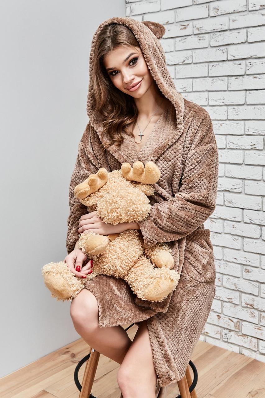Женский домашний мягкий плюшевый халат по колено с ушками. Бежевый, кофейный