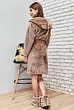 Женский домашний мягкий плюшевый халат по колено с ушками. Бежевый, кофейный, фото 2