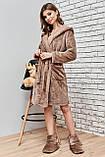 Женский домашний мягкий плюшевый халат по колено с ушками. Бежевый, кофейный, фото 4
