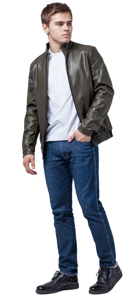 Кожаная стильная куртка цвет хаки модель 1588