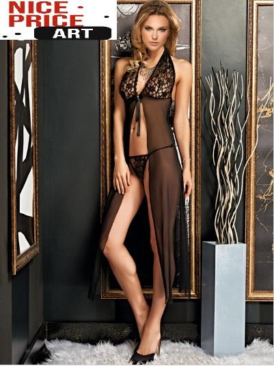 Комплект жіночий ніжний пеньюар з трусиками,чорний