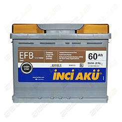 Аккумулятор автомобильный Inci Akü Nanogold EFB Start-Stop 60Ah R+ 560A (EN)