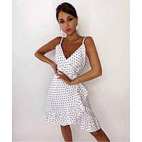 Красивое летнее платье женское на запах в горошек 30788
