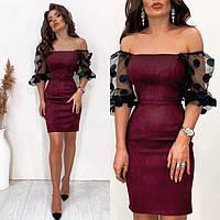 Замшевое платье женское с красивыми рукавами 51899