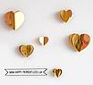 3D гирлянда из зеркальных сердечек красная (2 метра), фото 2