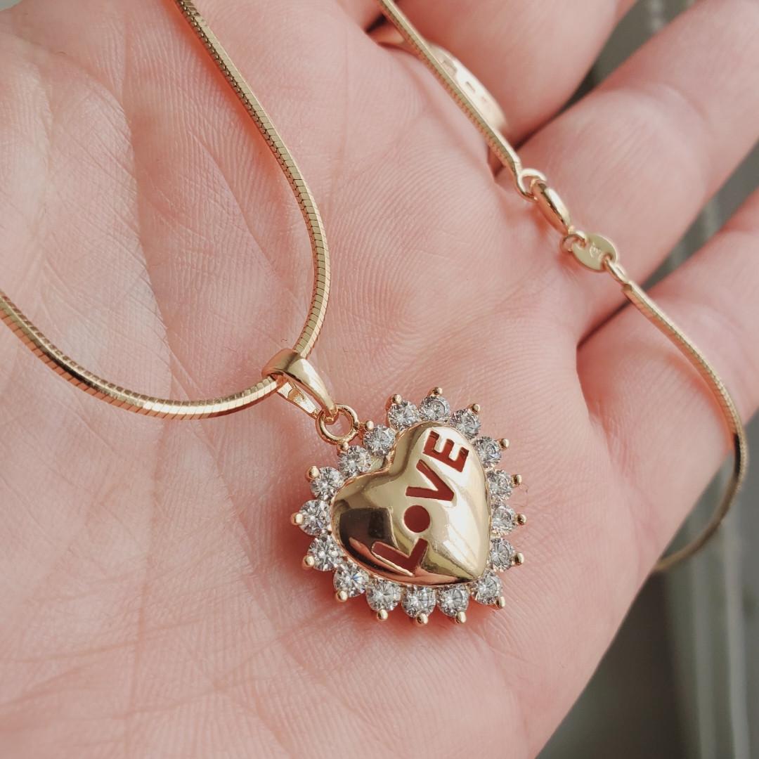 Кулон сердце с цепочкой снейк 1мм 45см xuping медицинское золото позолота 18К  5285