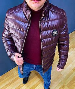 Чоловіча демісезонна куртка на синтепоні сетло-сіра