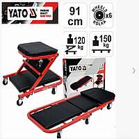 Лежак - стул автослесаря подкатной для ремонта автомобиля на СТО, автосервиса, мастерской 150/120 кг YATO
