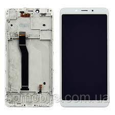 Дисплей для Xiaomi Redmi 6/6A з білим тачскріном і корпусних рамкою