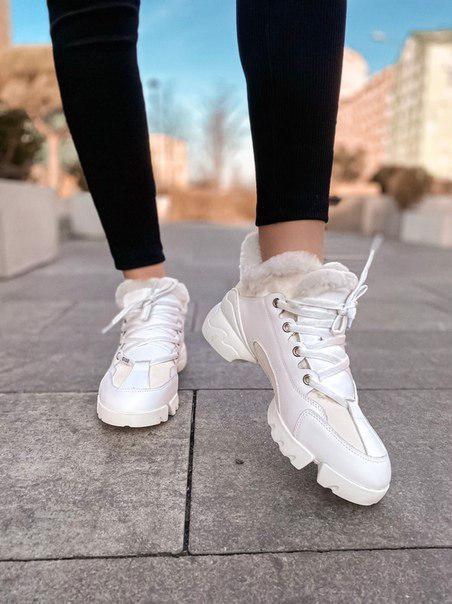Женские зимние кроссовки Dior Fur White