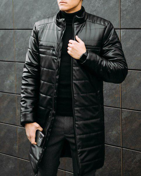 "Мужская куртка-пальто Pobedov ""Monopoly"" из эко-кожи"