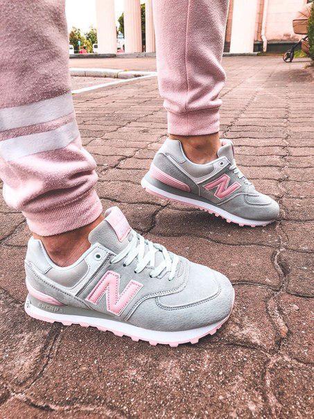 Женские кроссовки New Balance 574 Gray/Pink, популярная модель