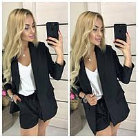 Костюм женский Тройка (шорты+пиджак+блуза) 407 черный