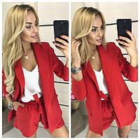 Костюм женский Тройка (шорты+пиджак+блуза) 407 красный