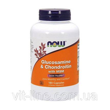 Глюкозамін, хондроїтин з ЧСЧ Now Foods 180 капсул, фото 2