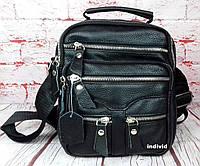 Мужская сумка из натуральной кожи. Черная сумка кожаная. Кожаная барсетка. Планшетка. СП12-1, фото 1