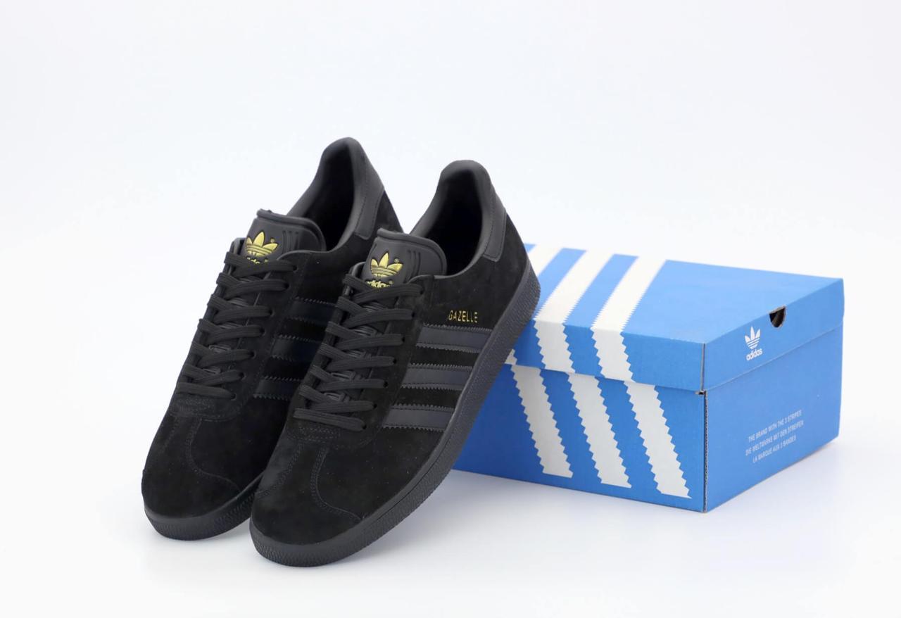 Мужские кроссовки Adidas Gazelle OG в черном цвете (Кроссовки Адидас Газели черные замшевые) 42