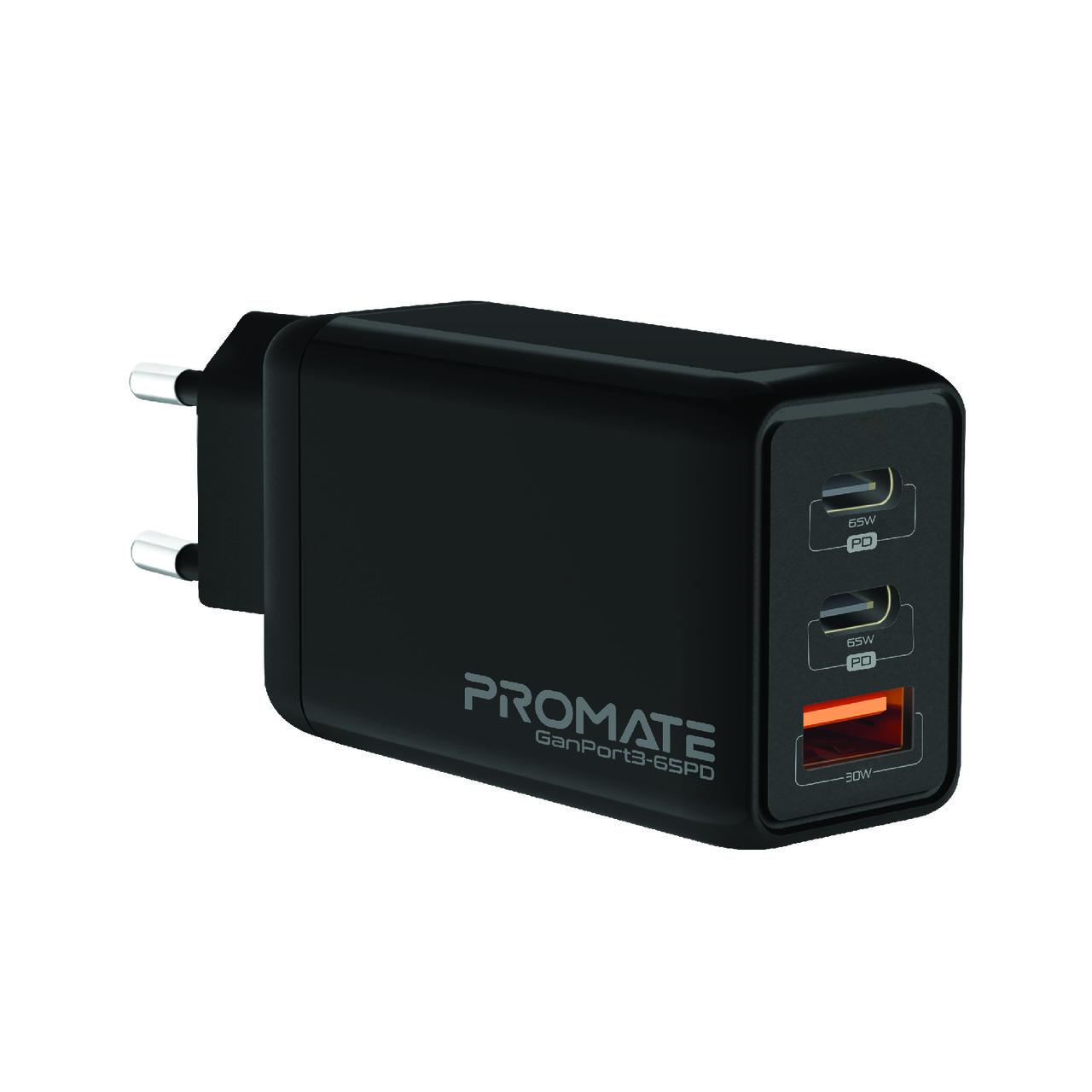 Сетевое зарядное устройство Promate GaNPort3-65PD 65 Вт, 2хUSB-C + USB-A Black