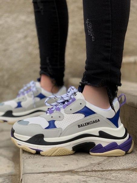 Женские модные кроссовки Balenciaga Triple S Violet
