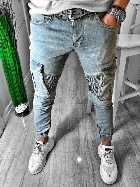 Мужские узкие джинсы на манжете, Турция
