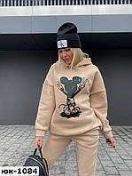 Женский стильный теплый спортивный костюм на флисе с Микки Маусом 2 цвета, фото 1